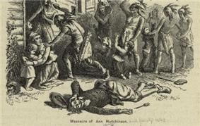 Sketch of a crouched woman who is sheltering a small child, with four other children nearby. The children are being attacked by seven native Americans wielding tomahawks and knives, near the doorway of a dwelling house. There is a dead or dying young man lying on the ground in the foreground.