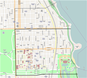 The official Hyde Park community area (bold black) and the unofficial Hyde Park-Kenwood neighborhood extending into the official Kenwood community area (thin black).