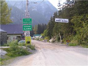 The border between Stewart, British Columbia and Hyder, as seen from the Canadian side.