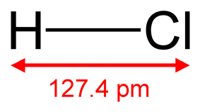 Skeletal formula of hydrogen chloride with a dimension