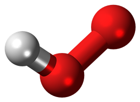 Ball-and-stick model of the hydroperoxyl radical