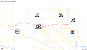 The northeastern part of Illinois showing major roads. IL120 runs from US14 east to IL131.
