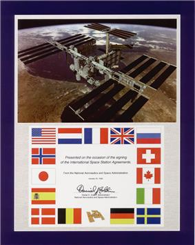 A Commemorative Plaque honoring Space Station Intergovernmental Agreement signed on January 28, 1998.