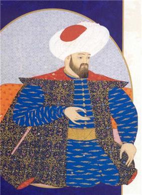 Ottoman miniature painting of Osman I, founder of the Ottoman Empire. Located at Topkapı Sarayı Müzesi, Istanbul.