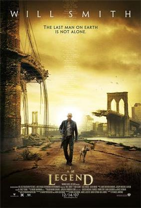 A man wearing leather clothes and holding a rifle walks alongside a dog on an empty street. A destroyed bridge is seen in the background. Atop the image is