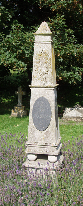 An obelisk marking the site of the Fleming family grave