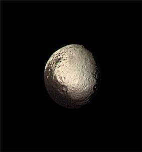 Two-toned Iapetus from Voyager 2, August 22, 1981