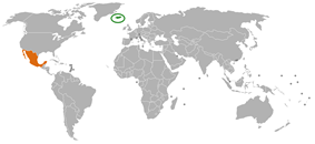 Map indicating locations of Iceland and Mexico