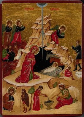 Orthodox icon depicting the Nativity scene