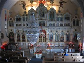 Iconostasis at Saint Mary's Russian Orthodox Church in McKeesport, PA.jpg