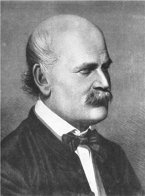 An engraved portrait of Semmelweis: a mustachioed, balding man in formal attire, pictured from the chest up.