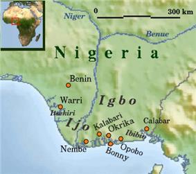 Map showing Ijaw (Ijo) area in Nigeria