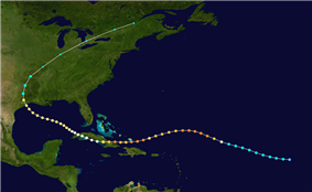 Map showing the path of a tropical cyclone, which generally moves from right to left. The track crosses over several landmasses to the left of the image before curving towards the upper half of the map.