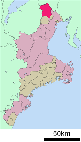 Location of Inabe in Mie Prefecture