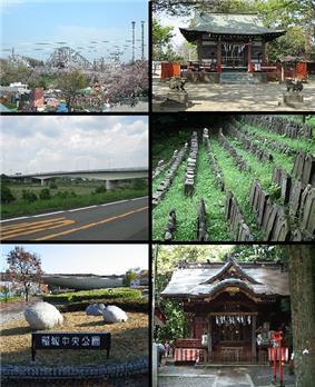 Clockwise from top left: Yomiuri Land Amusement Park, Aoi Shrine, Stone Buddha Statue in Mount Arigata, Anazawa-ten Shrine, Inagi Central Park, Inagi Bridge