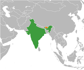 Map indicating locations of India and Bhutan
