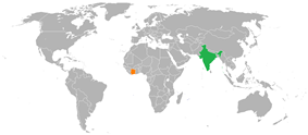 Map indicating locations of India and Ivory Coast