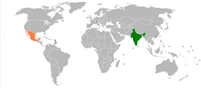 Map indicating locations of India and Mexico