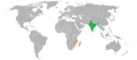 Map indicating locations of India and Mozambique