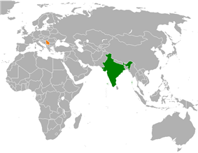 Map indicating locations of India and Serbia