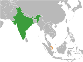 Map indicating locations of India and Singapore