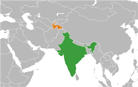 Map indicating locations of India and Tajikistan