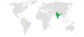 Map indicating locations of India and Trinidad and Tobago