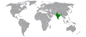 Map indicating locations of India and Uruguay