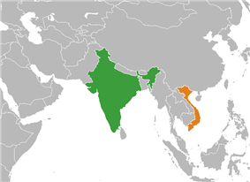 Map indicating locations of India and Vietnam