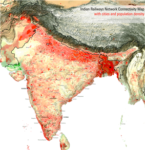 Map of India. High population density areas (above 1000 persons per square kilometre) centre on Kolkata along with other parts of the Ganges River Basin, Mumbai, Bangalore, the south-west coast, and the Lakshadweep Islands. Low density areas (below 100) include the western desert, eastern Kashmir, and the eastern frontier.