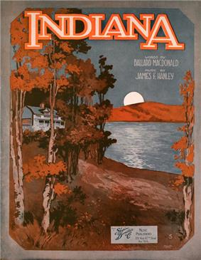 Sheet music cover showing a white house in a forest by a lake. The forest is orange and brown, and the sky is dark blue. On the other side of the lake, the moon is rising. The word