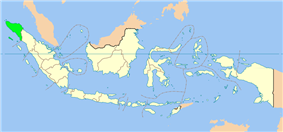 Map indicating the location of Aceh in Indonesia