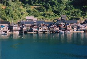 Wooden houses built on and above water.