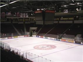 Inside of Agganis Arena after a BU Hockey Game