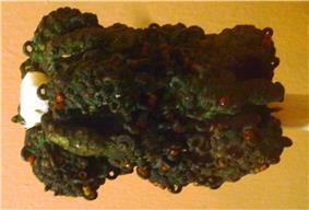 Intricate ornamental staff head, 9th century, bronze, Igbo-Ukwu.JPG