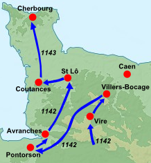 A map of Normandy in 1142