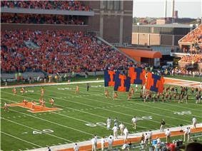 Memorial Stadium during Illinois' game against Iowa in 2008.