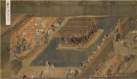 People of various stand, buildings, a wall and ox carts. An island in a lake is comopletely occupied by a canopy under which a large number of people are packed.