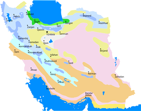 Iran climate map showing locations of province capitals
