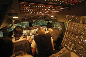 A view of an early-production 747 cockpit