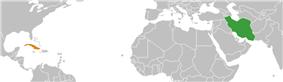 Map indicating locations of Iran and Cuba