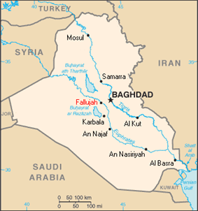 A tan political map of Iraq with major cities' names written in black and Fallujah noted in red