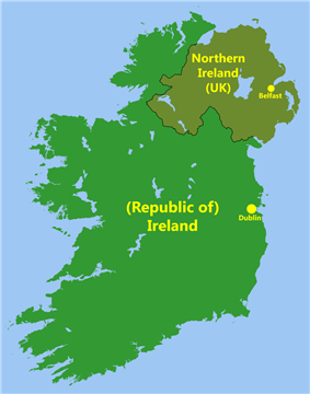a map showing the outline of Ireland in the colour green with the capitals of the North and South marked on it
