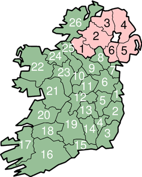 Map of Ireland with numbered counties
