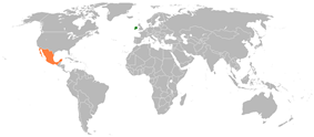 Map indicating locations of Ireland and Mexico