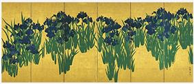 Irises in blossom on a gold background covering more than half of the screen.