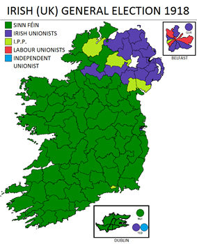 The results of the Irish general election, 1918, in which Sinn Féin and the Irish Parliamentary Party won the majority of votes on the island of Ireland, shown in the color green and light green respectively, with the exception being primarily in the East of the province of Ulster.