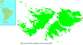 Location of Kidney Island within the Falkland Islands