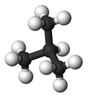 Ball and stick model of isobutane