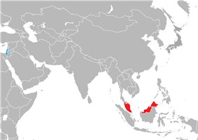 Map indicating locations of Israel and Malaysia
